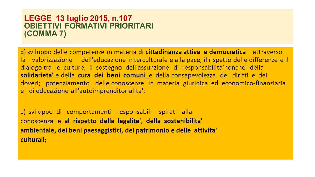 LEGGE 13 luglio 2015, n.107 OBIETTIVI FORMATIVI PRIORITARI (COMMA 7) d) sviluppo delle competenze in materia di cittadinanza attiva e democratica attr
