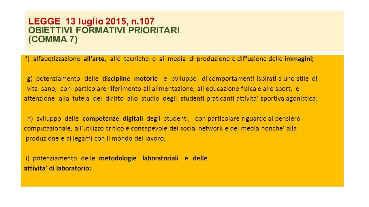 LEGGE 13 luglio 2015, n.107 OBIETTIVI FORMATIVI PRIORITARI (COMMA 7) f) alfabetizzazione all'arte, alle tecniche e ai media di produzione e diffusione