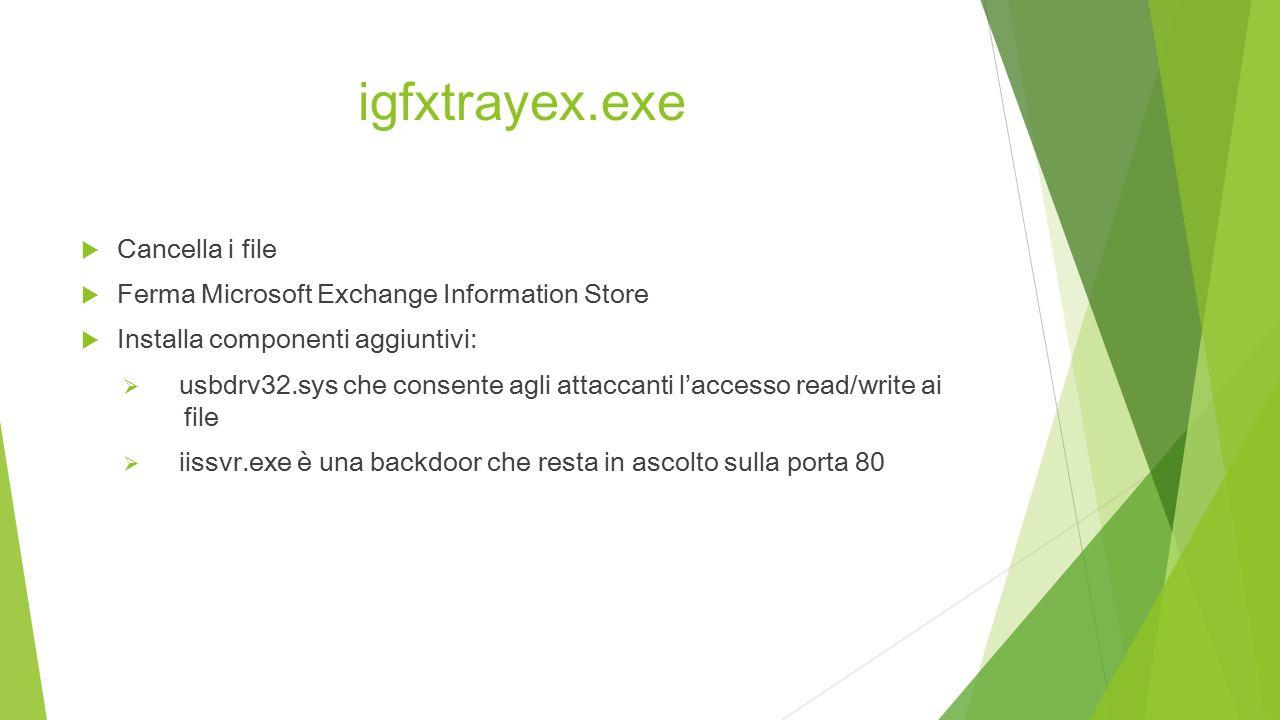 igfxtrayex.exe  Cancella i file  Ferma Microsoft Exchange Information Store  Installa componenti aggiuntivi:  usbdrv32.sys che consente agli attaccanti l'accesso read/write ai file  iissvr.exe è una backdoor che resta in ascolto sulla porta 80