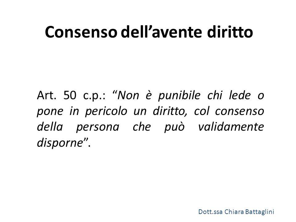 """Consenso dell'avente diritto Art. 50 c.p.: """"Non è punibile chi lede o pone in pericolo un diritto, col consenso della persona che può validamente disp"""