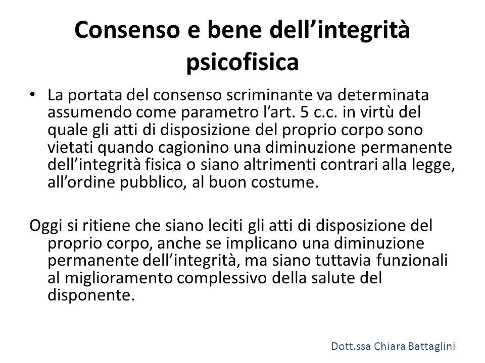 Consenso e bene dell'integrità psicofisica La portata del consenso scriminante va determinata assumendo come parametro l'art. 5 c.c. in virtù del qual