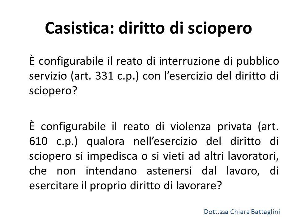 Casistica: diritto di sciopero È configurabile il reato di interruzione di pubblico servizio (art. 331 c.p.) con l'esercizio del diritto di sciopero?