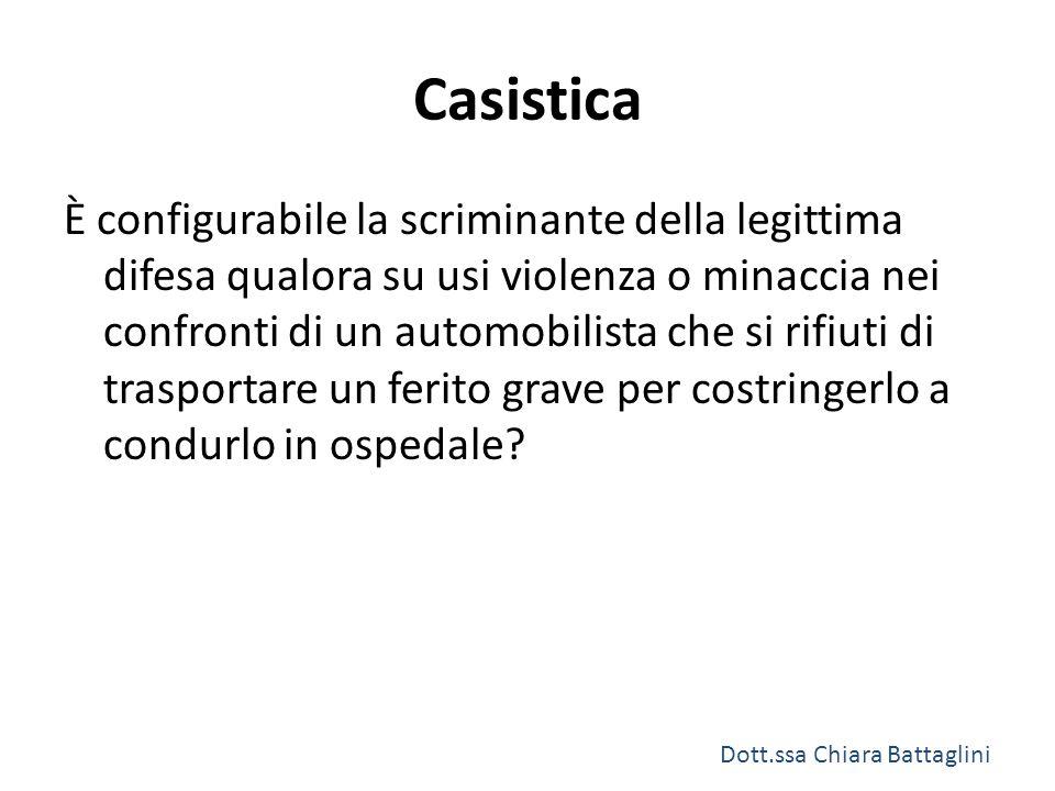 Casistica È configurabile la scriminante della legittima difesa qualora su usi violenza o minaccia nei confronti di un automobilista che si rifiuti di