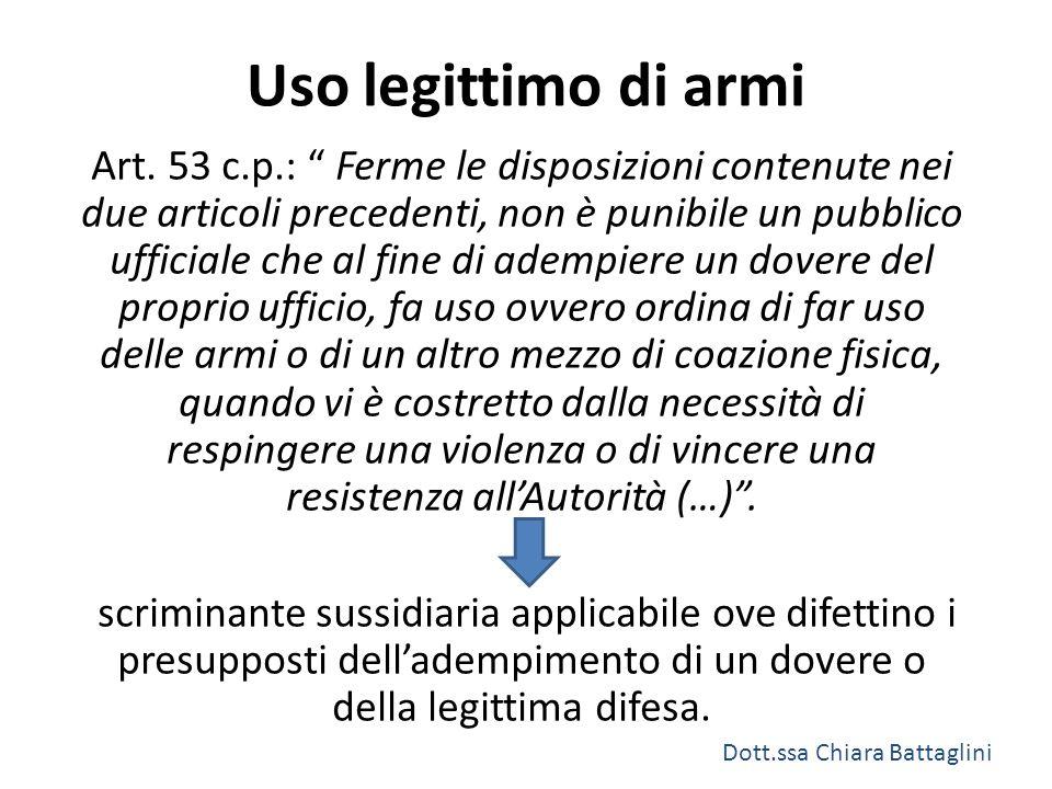 """Uso legittimo di armi Art. 53 c.p.: """" Ferme le disposizioni contenute nei due articoli precedenti, non è punibile un pubblico ufficiale che al fine di"""