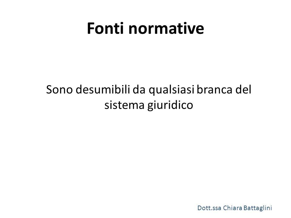 Fonti normative Sono desumibili da qualsiasi branca del sistema giuridico Dott.ssa Chiara Battaglini