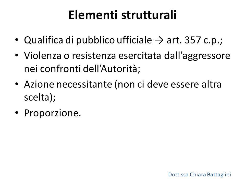 Elementi strutturali Qualifica di pubblico ufficiale → art. 357 c.p.; Violenza o resistenza esercitata dall'aggressore nei confronti dell'Autorità; Az