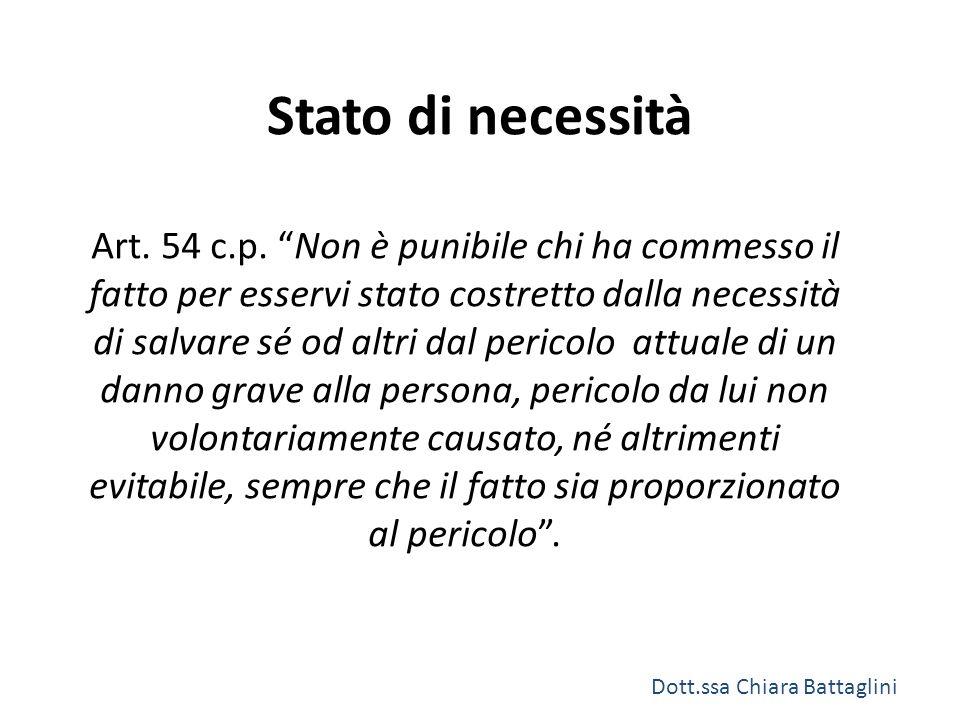 """Stato di necessità Art. 54 c.p. """"Non è punibile chi ha commesso il fatto per esservi stato costretto dalla necessità di salvare sé od altri dal perico"""