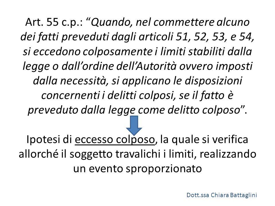 """Art. 55 c.p.: """"Quando, nel commettere alcuno dei fatti preveduti dagli articoli 51, 52, 53, e 54, si eccedono colposamente i limiti stabiliti dalla le"""