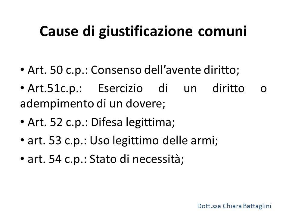 Cause di giustificazione comuni Art. 50 c.p.: Consenso dell'avente diritto; Art.51c.p.: Esercizio di un diritto o adempimento di un dovere; Art. 52 c.