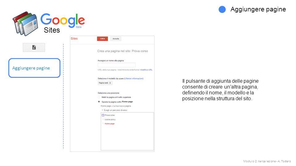Sites Aggiungere pagine Il pulsante di aggiunta delle pagine consente di creare un altra pagina, definendo il nome, il modello e la posizione nella struttura del sito.