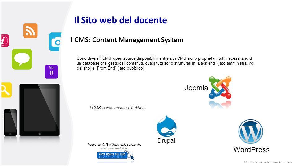 I CMS: Content Management System Sono diversi i CMS open source disponibili mentre altri CMS sono proprietari: tutti necessitano di un database che gestisca i contenuti, quasi tutti sono strutturati in Back end (lato amministrativo del sito) e Front End (lato pubblico) I CMS opens source più diffusi Joomla WordPress Drupal Mappa dei CMS utilizzati dalle scuole che utilizzano i modelli di Il Sito web del docente Modulo 2: terza lezione - A.