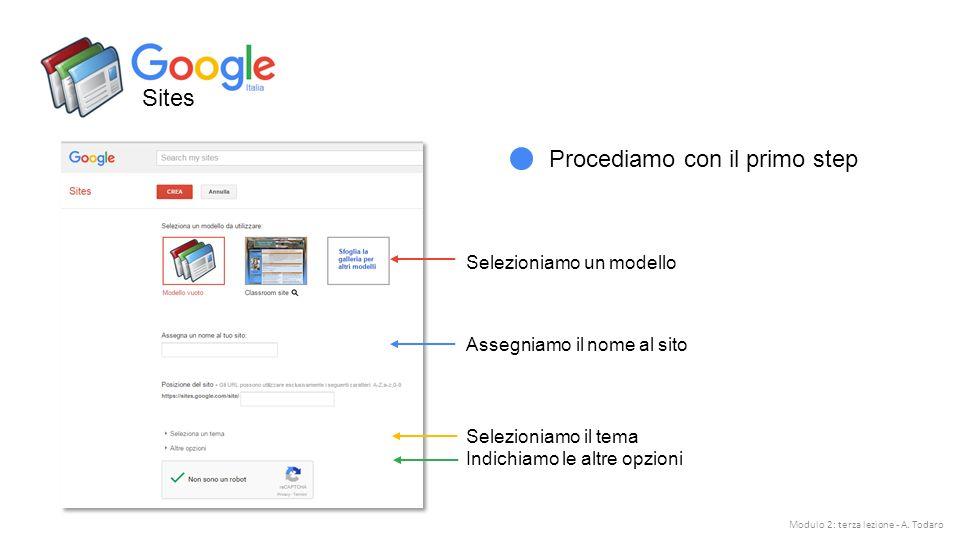 Sites Procediamo con il primo step Assegniamo il nome al sito Selezioniamo un modello Selezioniamo il tema Indichiamo le altre opzioni Modulo 2: terza lezione - A.