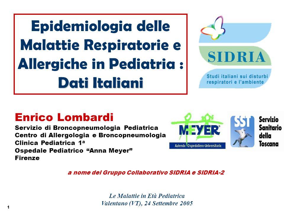 1 a nome del Gruppo Collaborativo SIDRIA e SIDRIA-2 Epidemiologia delle Malattie Respiratorie e Allergiche in Pediatria : Dati Italiani Le Malattie in