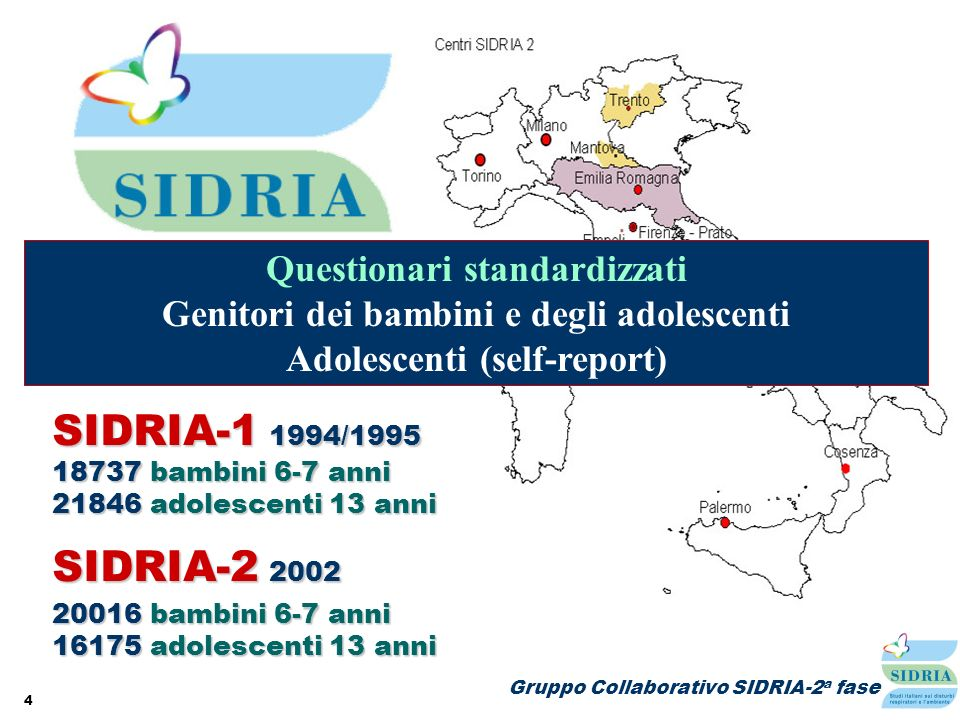 4 SIDRIA-2 2002 20016 bambini 6-7 anni 16175 adolescenti 13 anni SIDRIA-1 1994/1995 18737 bambini 6-7 anni 21846 adolescenti 13 anni Partecipazione It