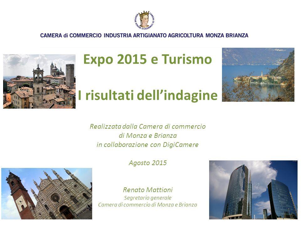 Expo 2015 e Turismo I risultati dell'indagine Realizzata dalla Camera di commercio di Monza e Brianza in collaborazione con DigiCamere Agosto 2015 Renato Mattioni Segretario generale Camera di commercio di Monza e Brianza