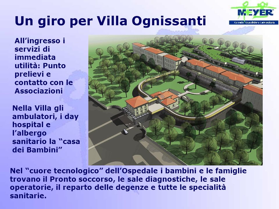 Un giro per Villa Ognissanti All'ingresso i servizi di immediata utilità: Punto prelievi e contatto con le Associazioni Nella Villa gli ambulatori, i