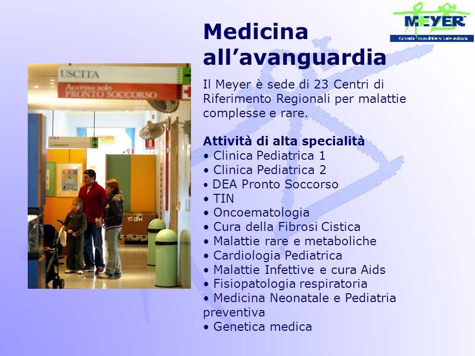 Medicina all'avanguardia Il Meyer è sede di 23 Centri di Riferimento Regionali per malattie complesse e rare. Attività di alta specialità Clinica Pedi
