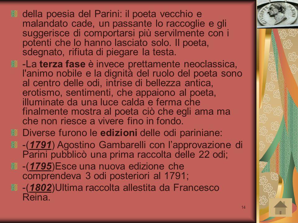 14 della poesia del Parini: il poeta vecchio e malandato cade, un passante lo raccoglie e gli suggerisce di comportarsi più servilmente con i potenti