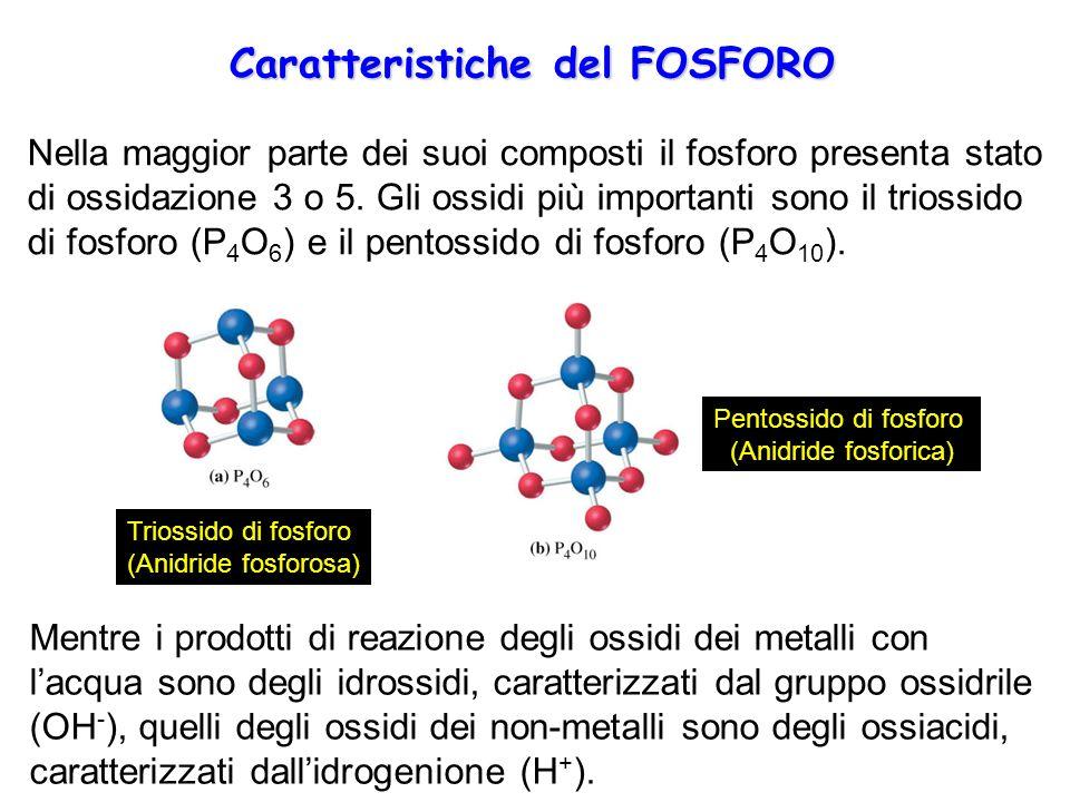 Nella maggior parte dei suoi composti il fosforo presenta stato di ossidazione 3 o 5. Gli ossidi più importanti sono il triossido di fosforo (P 4 O 6