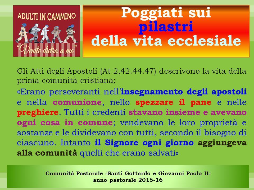 Comunità Pastorale «Santi Gottardo e Giovanni Paolo II» anno pastorale 2015-16 Parola: l'annuncio del Vangelo e della formazione catechetica.