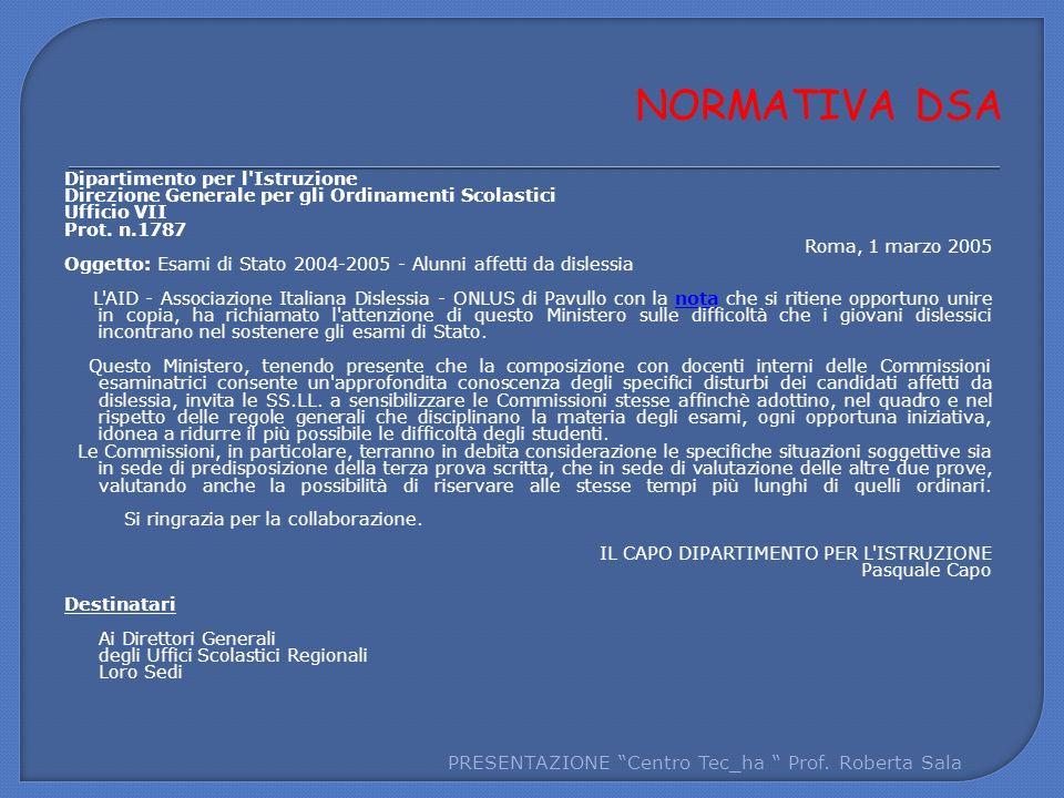 Dipartimento per l'Istruzione Direzione Generale per gli Ordinamenti Scolastici Ufficio VII Prot. n.1787 Roma, 1 marzo 2005 Oggetto: Esami di Stato 20
