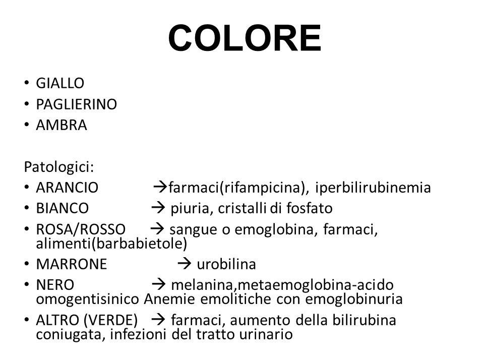 COLORE GIALLO PAGLIERINO AMBRA Patologici: ARANCIO  farmaci(rifampicina), iperbilirubinemia BIANCO  piuria, cristalli di fosfato ROSA/ROSSO  sangue