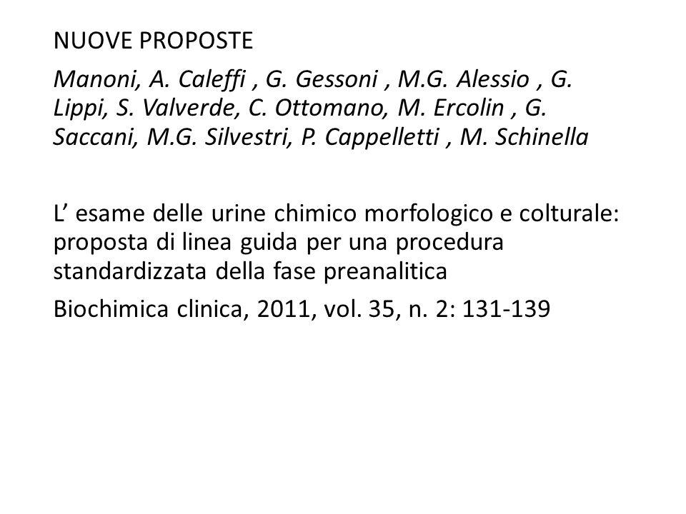 NUOVE PROPOSTE Manoni, A. Caleffi, G. Gessoni, M.G. Alessio, G. Lippi, S. Valverde, C. Ottomano, M. Ercolin, G. Saccani, M.G. Silvestri, P. Cappellett