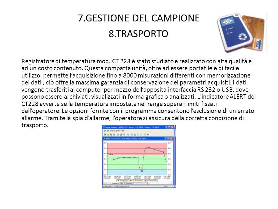 7.GESTIONE DEL CAMPIONE 8.TRASPORTO Registratore di temperatura mod. CT 228 è stato studiato e realizzato con alta qualità e ad un costo contenuto. Qu