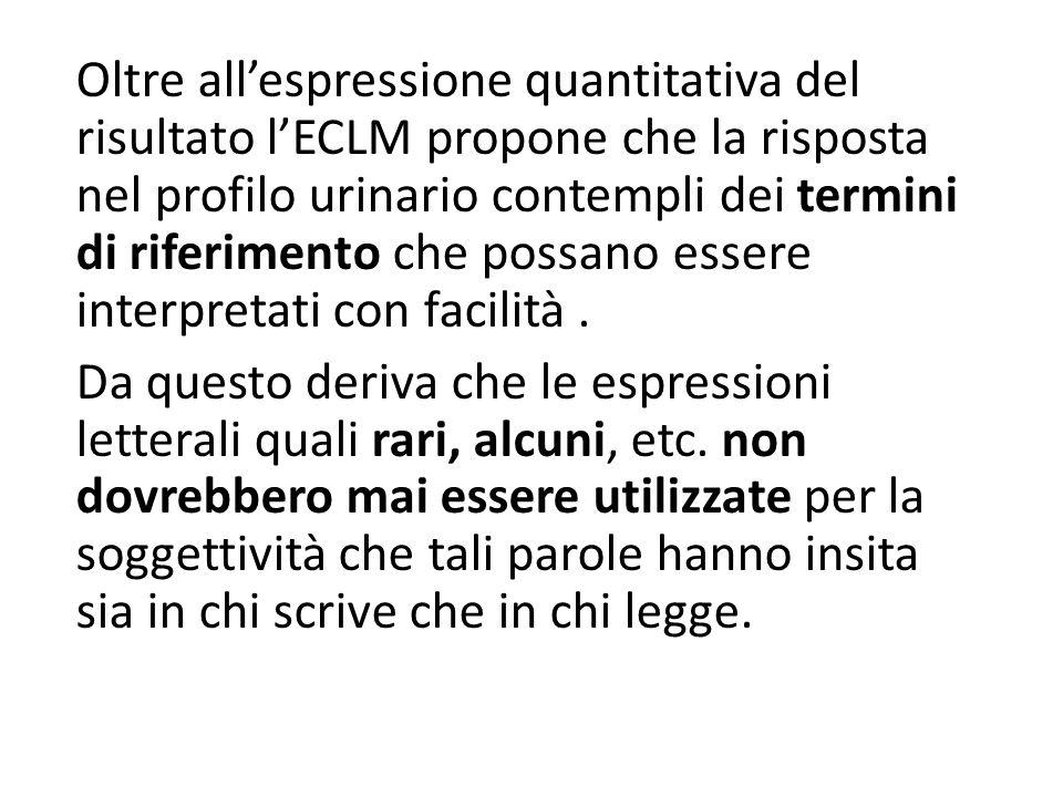 Oltre all'espressione quantitativa del risultato l'ECLM propone che la risposta nel profilo urinario contempli dei termini di riferimento che possano