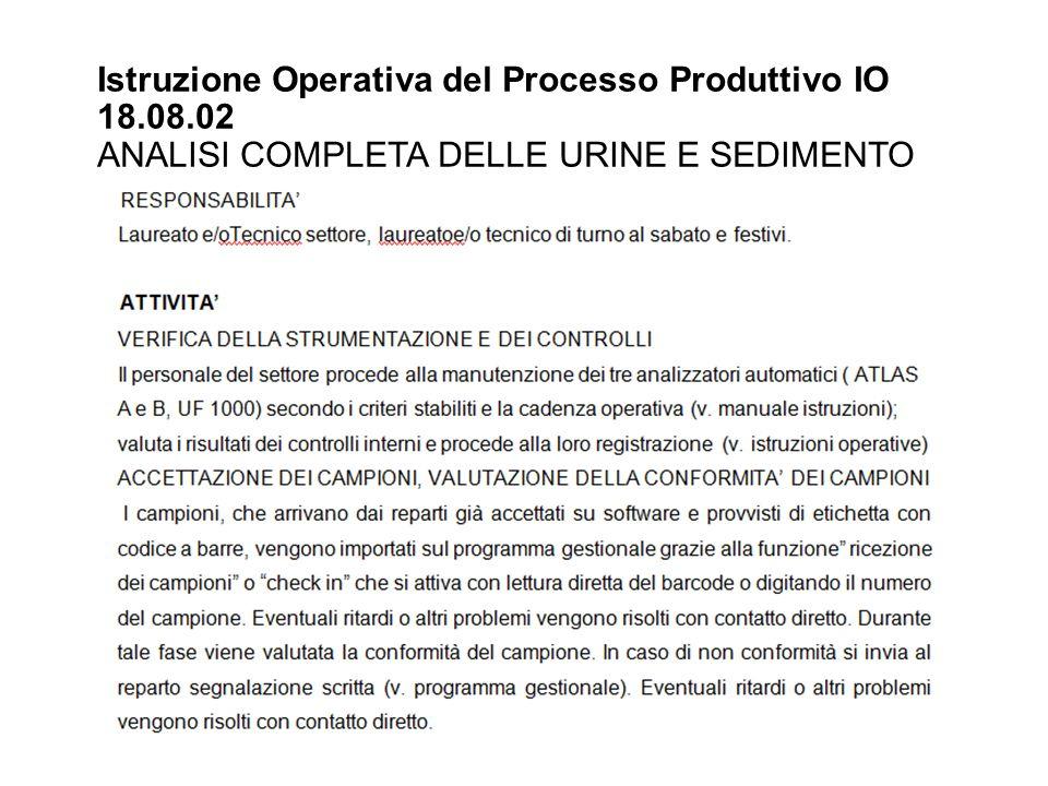 Istruzione Operativa del Processo Produttivo IO 18.08.02 ANALISI COMPLETA DELLE URINE E SEDIMENTO