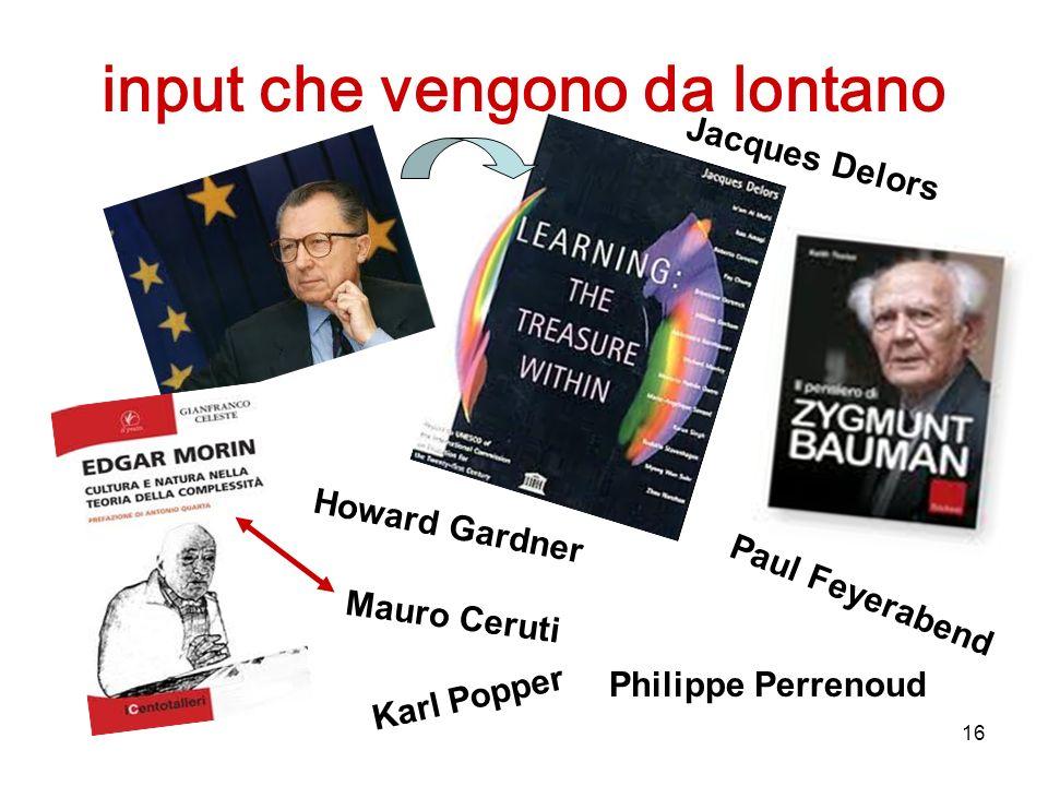 16 input che vengono da lontano Karl Popper Paul Feyerabend Philippe Perrenoud Mauro Ceruti Jacques Delors Howard Gardner