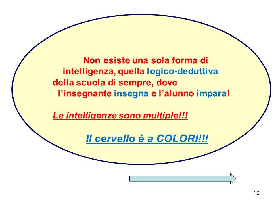 19 Non esiste una sola forma di intelligenza, quella logico-deduttiva della scuola di sempre, dove l'insegnante insegna e l'alunno impara.