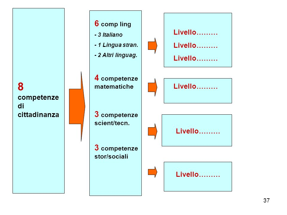 37 8 competenze di cittadinanza Livello……… 6 comp ling - 3 Italiano - 1 Lingua stran.