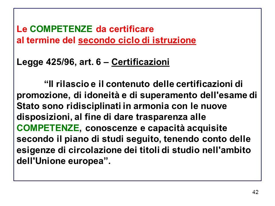 Le COMPETENZE da certificare al termine del secondo ciclo di istruzione Legge 425/96, art.