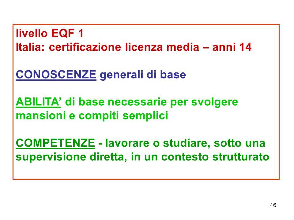 46 livello EQF 1 Italia: certificazione licenza media – anni 14 CONOSCENZE generali di base ABILITA' di base necessarie per svolgere mansioni e compiti semplici COMPETENZE - lavorare o studiare, sotto una supervisione diretta, in un contesto strutturato