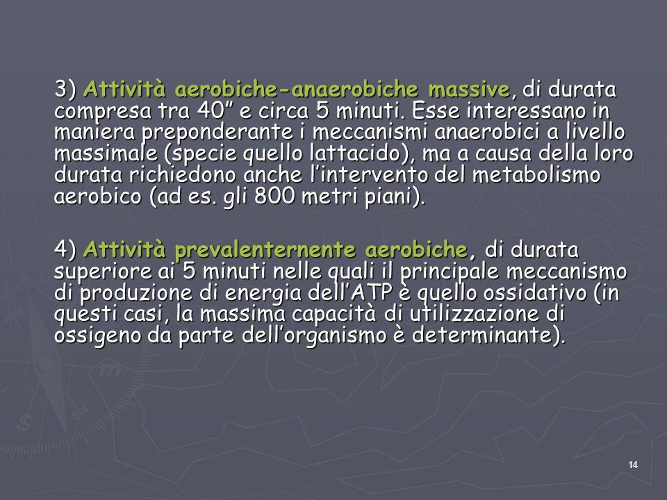 """14 3) Attività aerobiche-anaerobiche massive, di durata compresa tra 40"""" e circa 5 minuti. Esse interessano in maniera preponderante i meccanismi anae"""