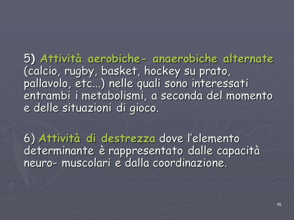 15 5) Attività aerobiche- anaerobiche alternate (calcio, rugby, basket, hockey su prato, pallavolo, etc...) nelle quali sono interessati entrambi i me