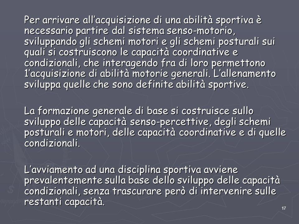 17 Per arrivare all'acquisizione di una abilità sportiva è necessario partire dal sistema senso-motorio, sviluppando gli schemi motori e gli schemi po