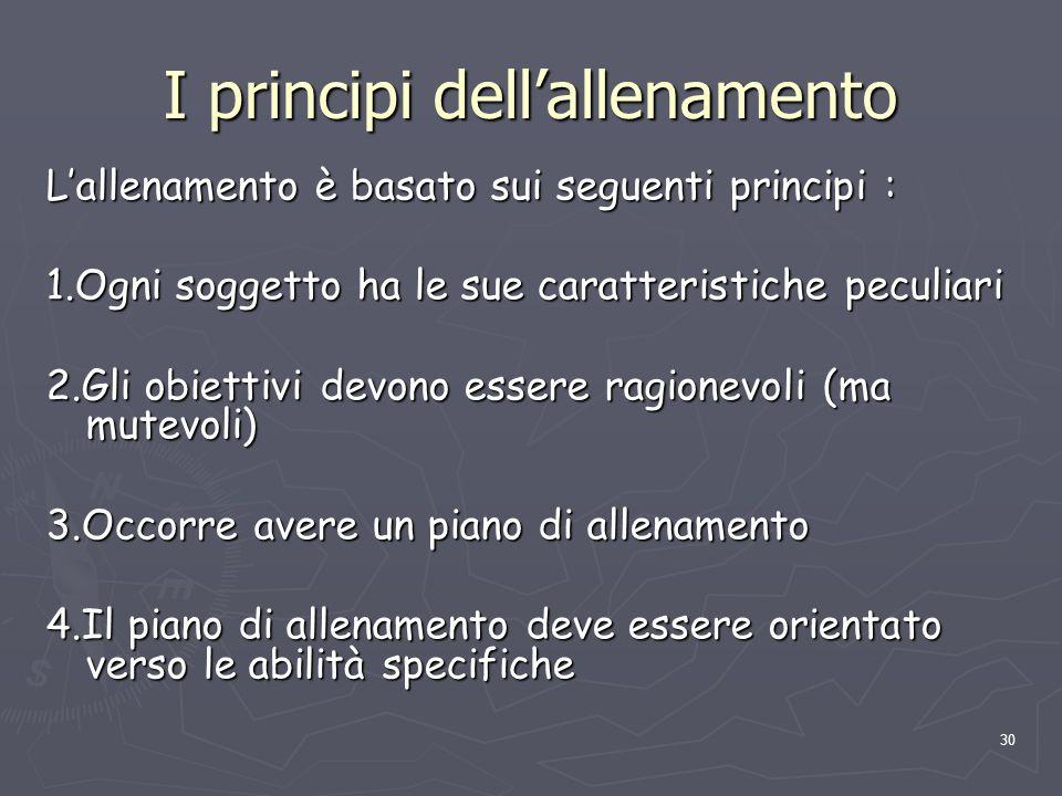 30 I principi dell'allenamento L'allenamento è basato sui seguenti principi : 1.Ogni soggetto ha le sue caratteristiche peculiari 2.Gli obiettivi devo