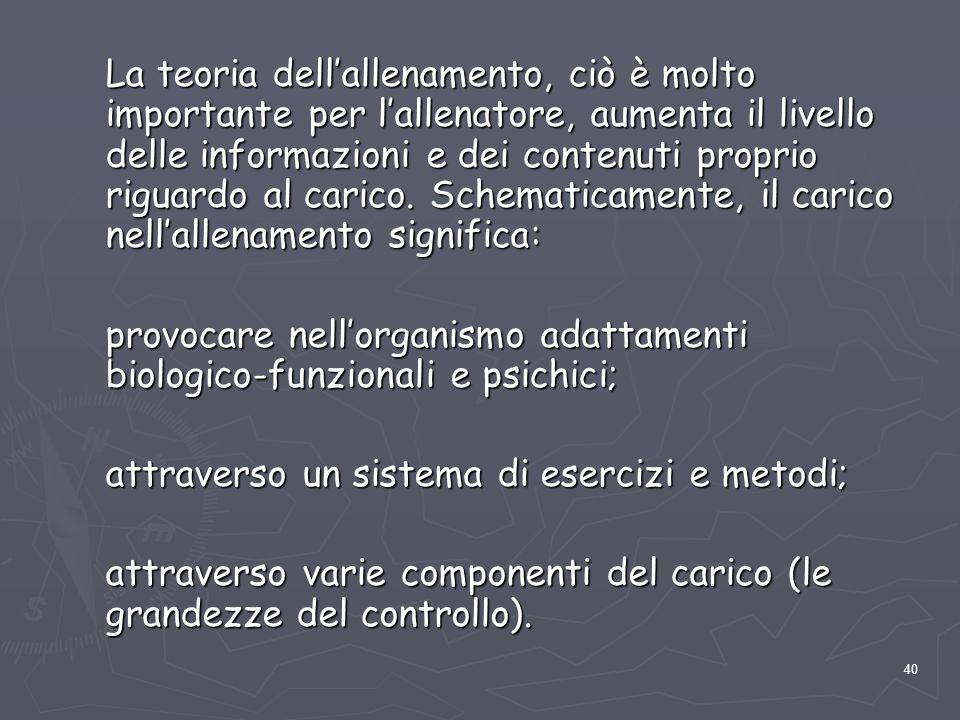 40 La teoria dell'allenamento, ciò è molto importante per l'allenatore, aumenta il livello delle informazioni e dei contenuti proprio riguardo al cari