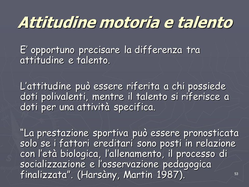 53 Attitudine motoria e talento E' opportuno precisare la differenza tra attitudine e talento. L'attitudine può essere riferita a chi possiede doti po