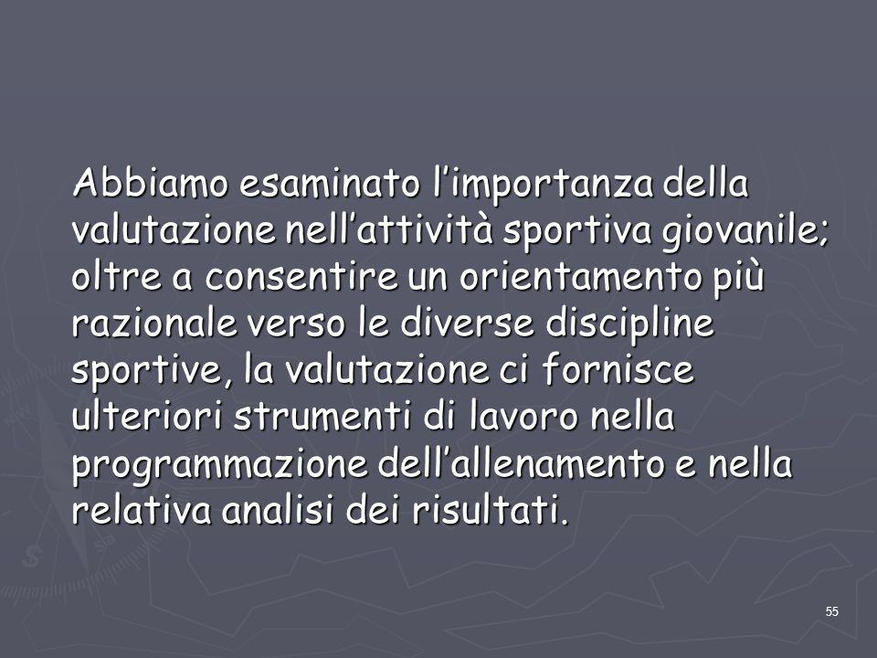 55 Abbiamo esaminato l'importanza della valutazione nell'attività sportiva giovanile; oltre a consentire un orientamento più razionale verso le divers