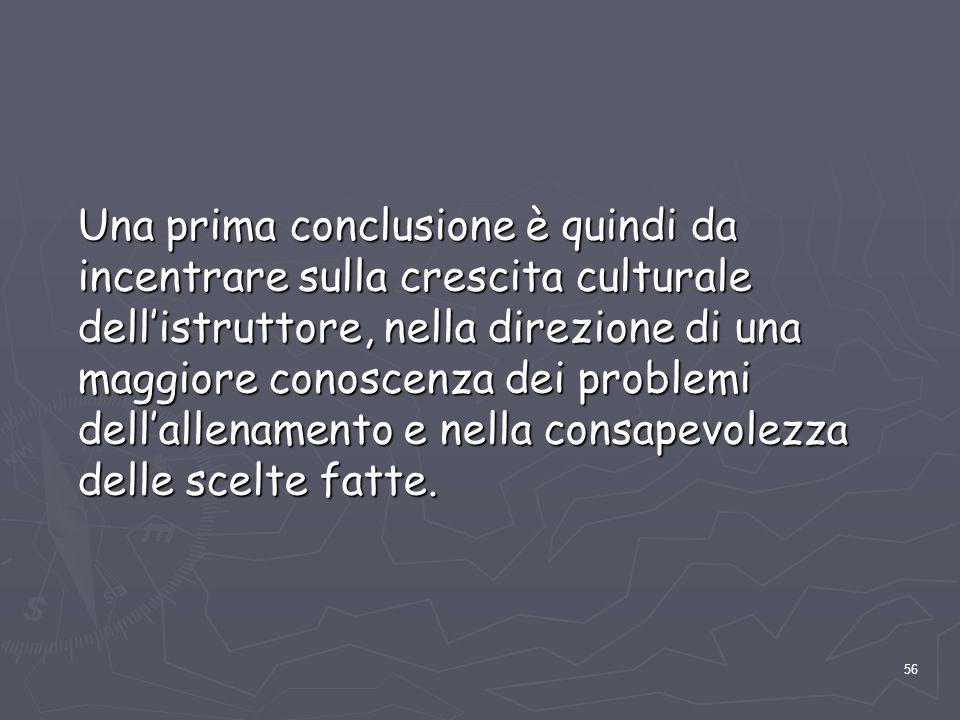 56 Una prima conclusione è quindi da incentrare sulla crescita culturale dell'istruttore, nella direzione di una maggiore conoscenza dei problemi dell