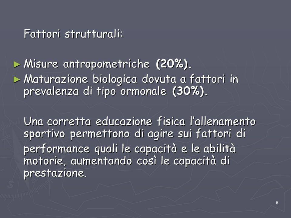 6 Fattori strutturali: ► Misure antropometriche (20%). ► Maturazione biologica dovuta a fattori in prevalenza di tipo ormonale (30%). Una corretta edu