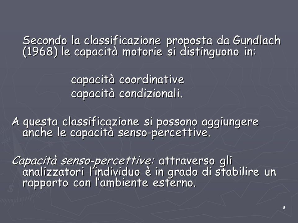 8 Secondo la classificazione proposta da Gundlach (1968) le capacità motorie si distinguono in: capacità coordinative capacità coordinative capacità c