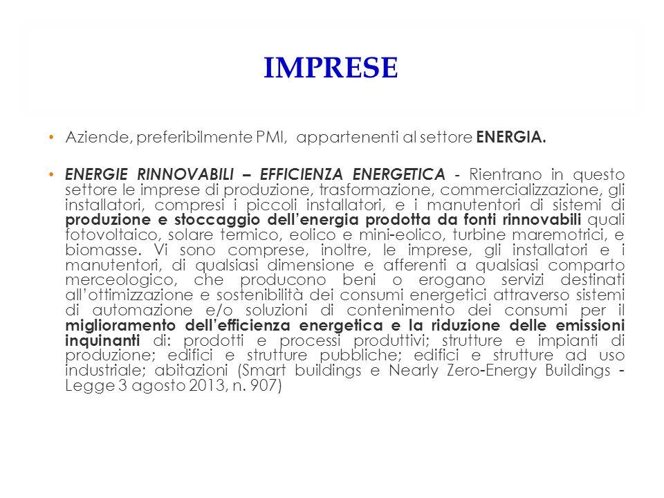 IMPRESE Aziende, preferibilmente PMI, appartenenti al settore ENERGIA. ENERGIE RINNOVABILI – EFFICIENZA ENERGETICA - Rientrano in questo settore le im