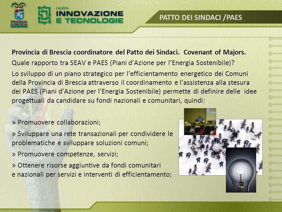 Provincia di Brescia coordinatore del Patto dei Sindaci. Covenant of Majors. Quale rapporto tra SEAV e PAES (Piani d'Azione per l'Energia Sostenibile)