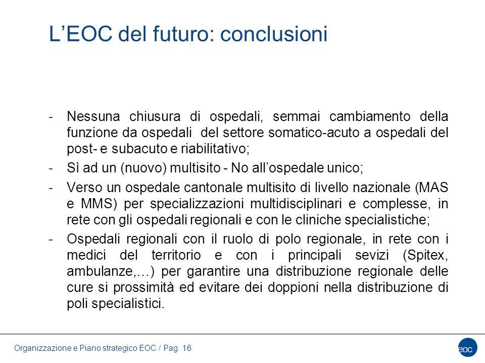 Organizzazione e Piano strategico EOC / Pag. 16 L'EOC del futuro: conclusioni -Nessuna chiusura di ospedali, semmai cambiamento della funzione da ospe