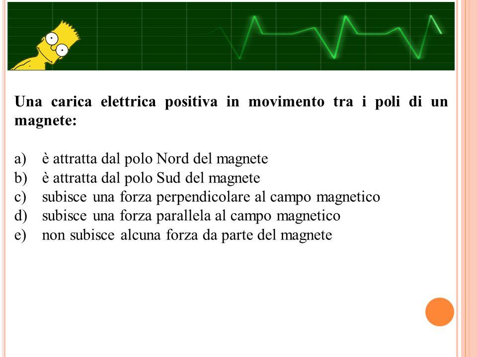Una carica elettrica positiva in movimento tra i poli di un magnete: a) è attratta dal polo Nord del magnete b) è attratta dal polo Sud del magnete c)