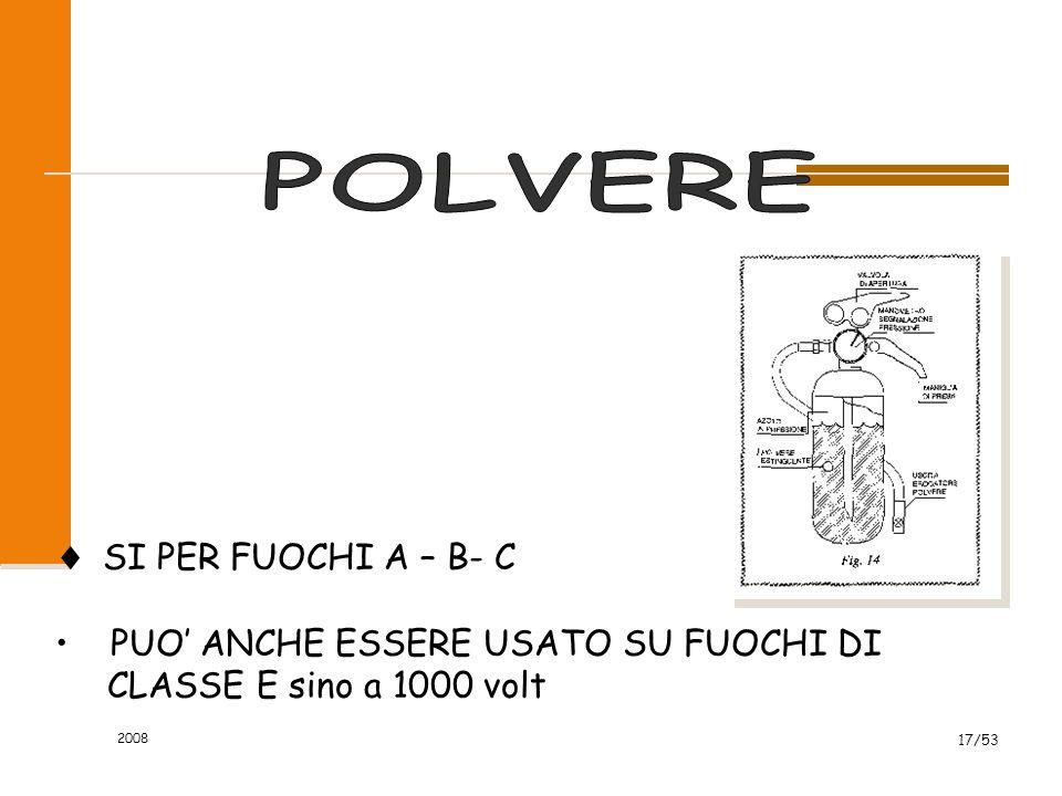 2008 17/53  SI PER FUOCHI A – B- C PUO' ANCHE ESSERE USATO SU FUOCHI DI CLASSE E sino a 1000 volt